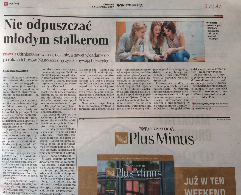adwokat Barbara Szopa stalking dzieci art. 190a kodeksu karnego Rzeczpospolita