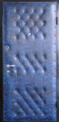 дверь входная синий дермантин