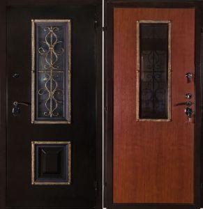 двери со стеклом+ ковка