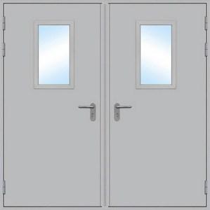 стальная техническая дверь со стеклопакетом от производителя