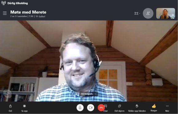 Bilde av Pål Molander i et digitalt videomøte.