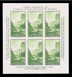 1¢ Yosemite Sheet of 6
