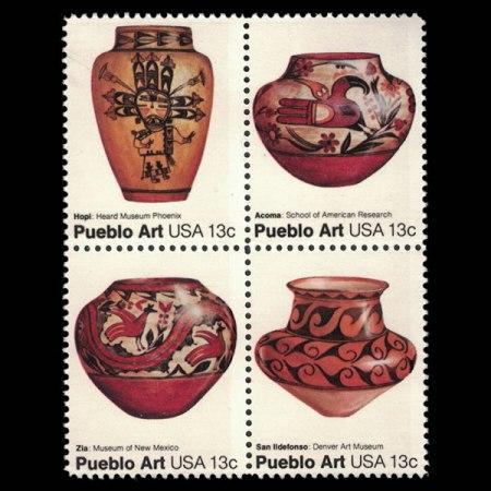 1977 U.S. Pueblo Potter Stamp Block of 4