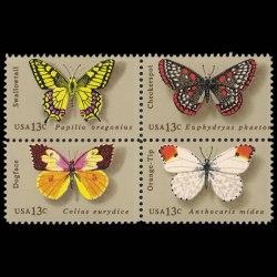 1977 U.S. Butterflies Stamp Block of 4