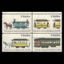 1983 U.S. 2059-62 Streetcars Stamp Block