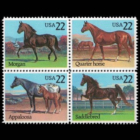 1985 U.S. Stamp Block of 4 American Horses