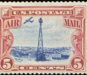 United States Airmail Stamps - 1928 Beacon and Rocky Mountains - 5¢ carmine & blue