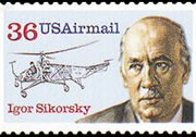 United States Airmail Stamps - 1983 - 1989 - 39¢ Igor Sikorsky (1988)