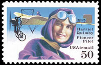 United States Airmail Stamps - 1991 Commemoratives - 50¢ Harriet Quimby