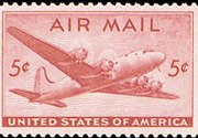 United States Airmail Stamps - 1946 - 5¢ DC-4 Skymaster