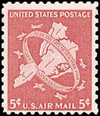 United States Airmail Stamps - 1948 - 5¢ New York City Jubilee