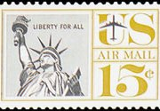 United States Airmail Stamps - 1959 - 1960 Regular Issues - 15¢ Statue of Liberty