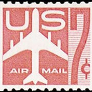 United States Airmail Stamps - 1960 Rotary Press Coil Perf 10 Horizontal - 7¢ Jet Plane - carmine