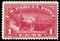 United States Parcel Post Stamps - 1912 - 1913 All Printed in Carmine Rose - 1¢ P.O. Clerk