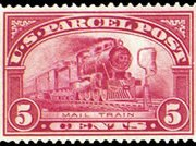 United States Parcel Post Stamps - 1912 - 1913 All Printed in Carmine Rose - 5¢ Mail Train