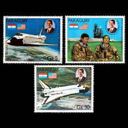 1981 Paraguay Air Mail Stamp Set - Space Shuttle Columbia