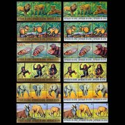 1977 Guinea Endangered Animals Stamp Strips - 12 strips of 3