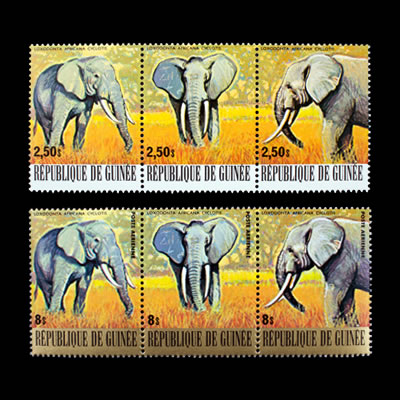 1977 Guinea Pygmy Elephant Regular and Air Post Stamp Strips