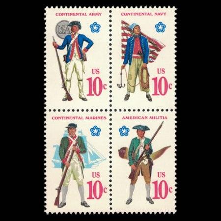 U.S. #1565-1568 - Military Uniforms 10 Cent Stamp Block of 4.