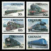 6 different train stamps from Grenada