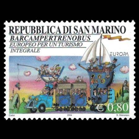 2004 San Marino Stamp #1605 - .8 Euro Fantasy Vehicle Stamp.