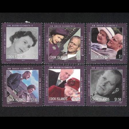 2010 Cook Islands Stamp #'s 1344-1349 - Queen Elizabeth and Prince Philip