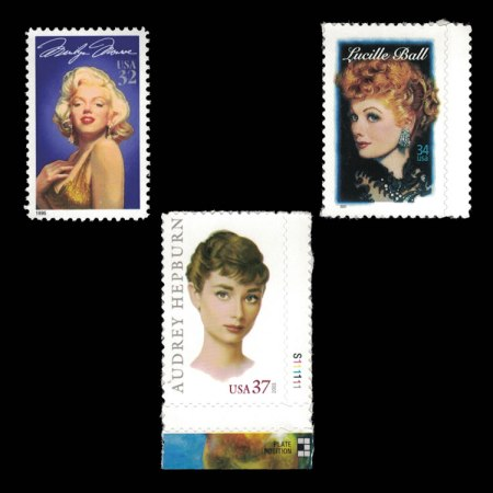 US Legendary Actresses Stamp Set of 3