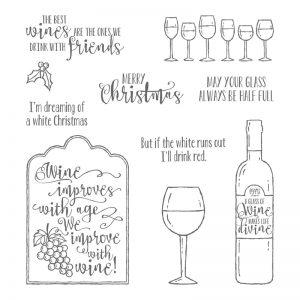 Enjoy Wine with Half Full Stamp set