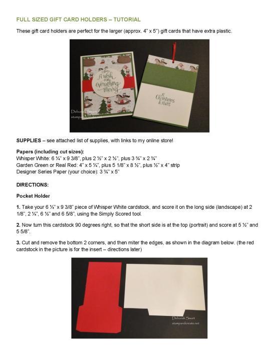 Full Sized Gift Card Holders Tutorial