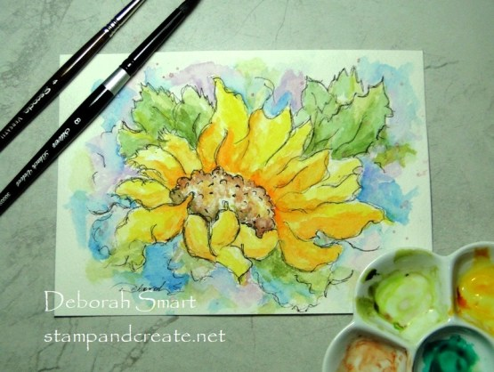 Sketched Sunflower Watercolour Complete!