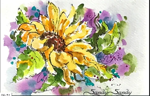 Sunflower Sketch in Watercolour