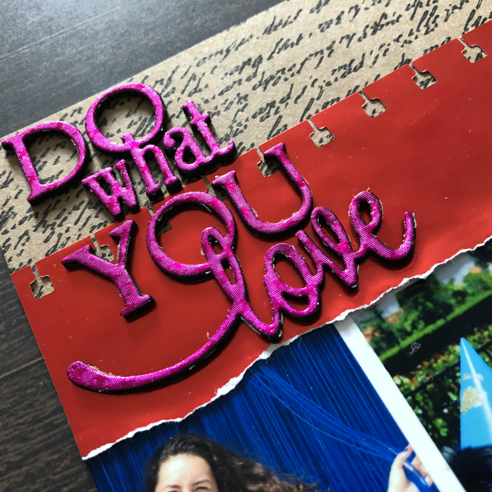 Scrapbook page with paper foil