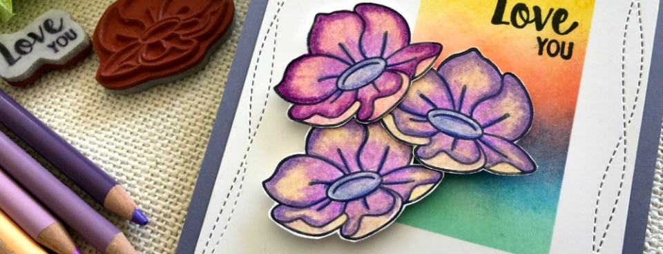 Button Flower with color pencils