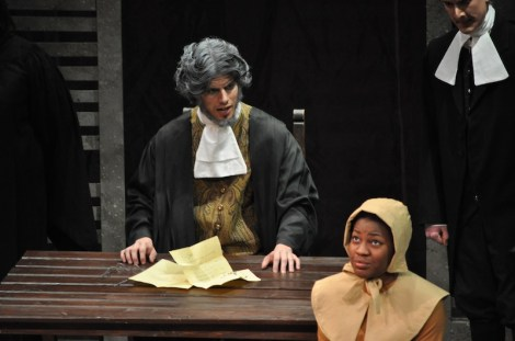 Dillon DiSalvo '10 as Deputy Gov. Danforth and Tai Coates '11 as Mary Warren