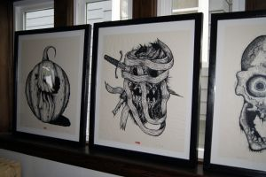 3 framed Halloween heads
