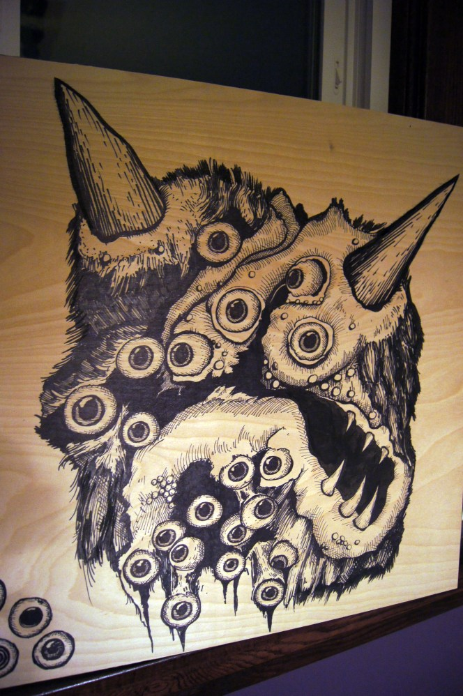 Monster Eyeball Demon Woodblock
