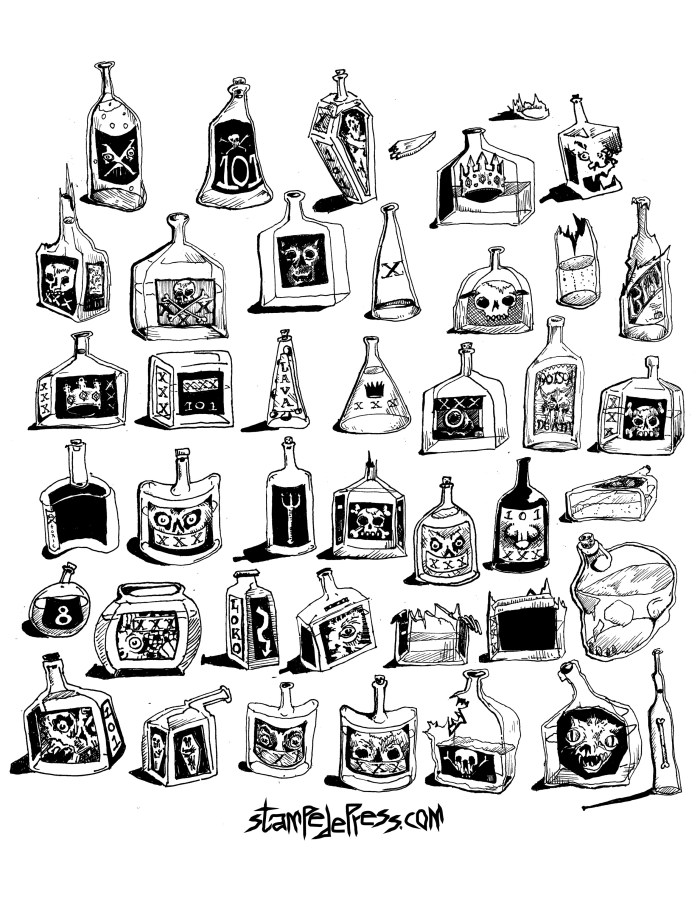 42 alcohol bottles Drawing by Dr. John Beckmann. Stampedepress
