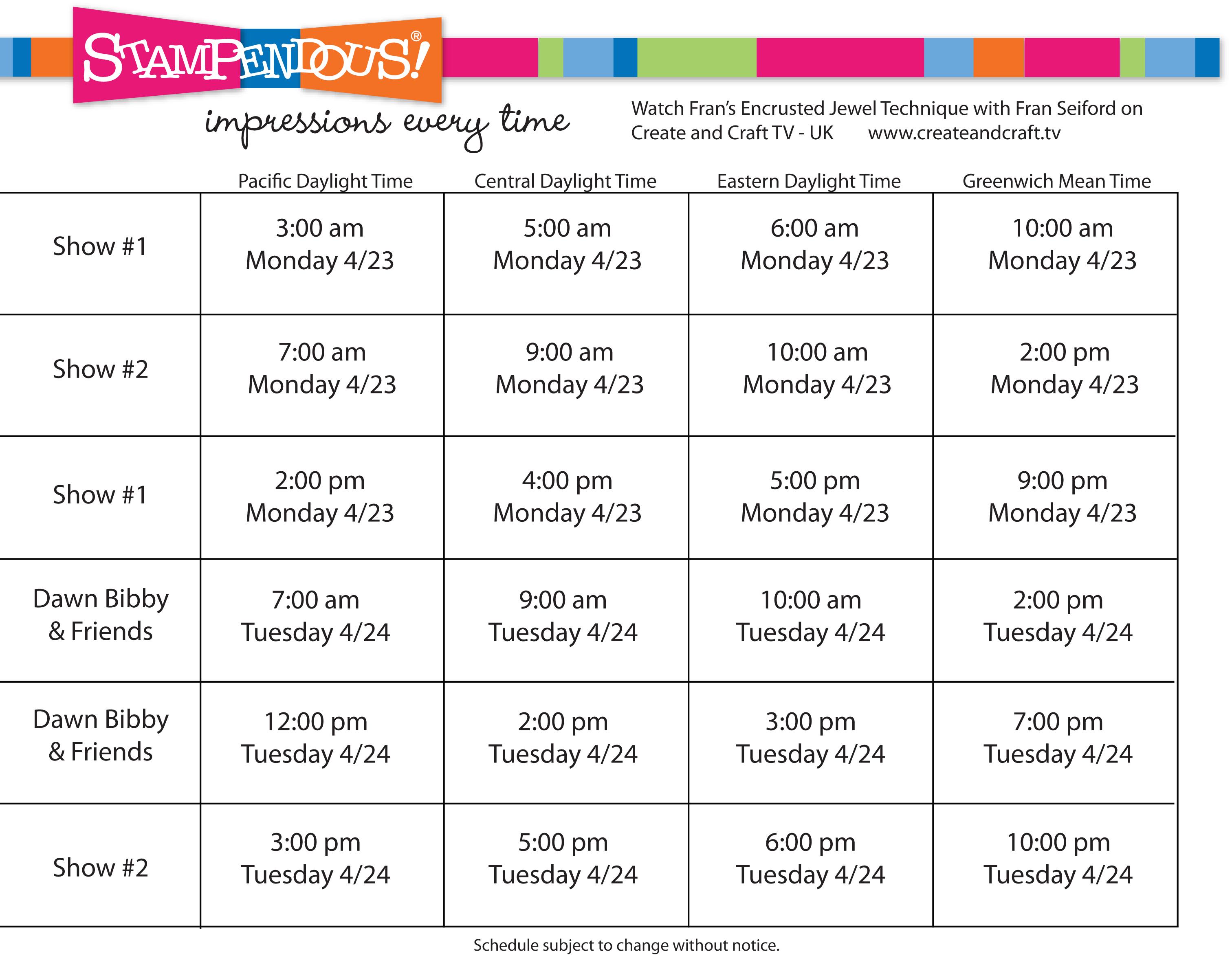 Create And Craft Tv Schedule