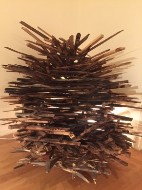 "Dana Hollister / ""I'm Fine"" / Re-purposed wood, light"