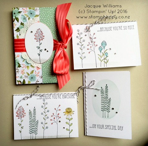Stampin Up Flowering Fields Easy Gift Idea Card Holder Set Diy Birthday Jacque Williams New Zealand