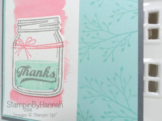 Watercolour Thank you card featuring Stampin' Up! UK Jar of Love