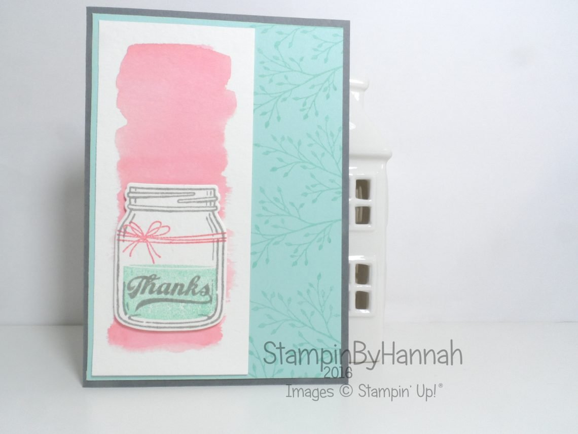 Thank You watercolour Card featuring Jar of Love from Stampin' Up! Uk