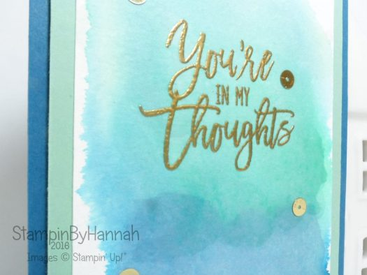 Watercolour background your in my thoughts card using Thoughtful Branches from Stampin' Up!