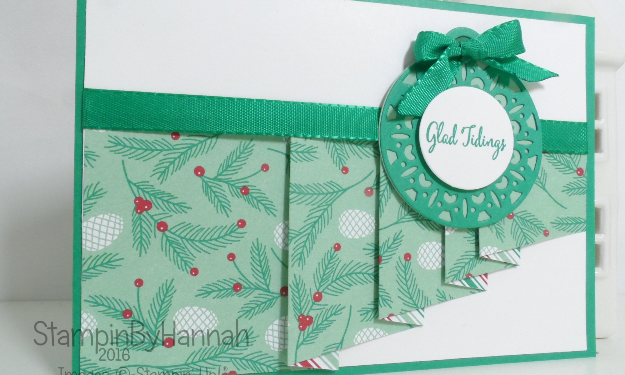 Make It Monday Pleated Designer Series Paper card using Presents and Pine Cones and Merriest Wishes from Stampin' Up! UK