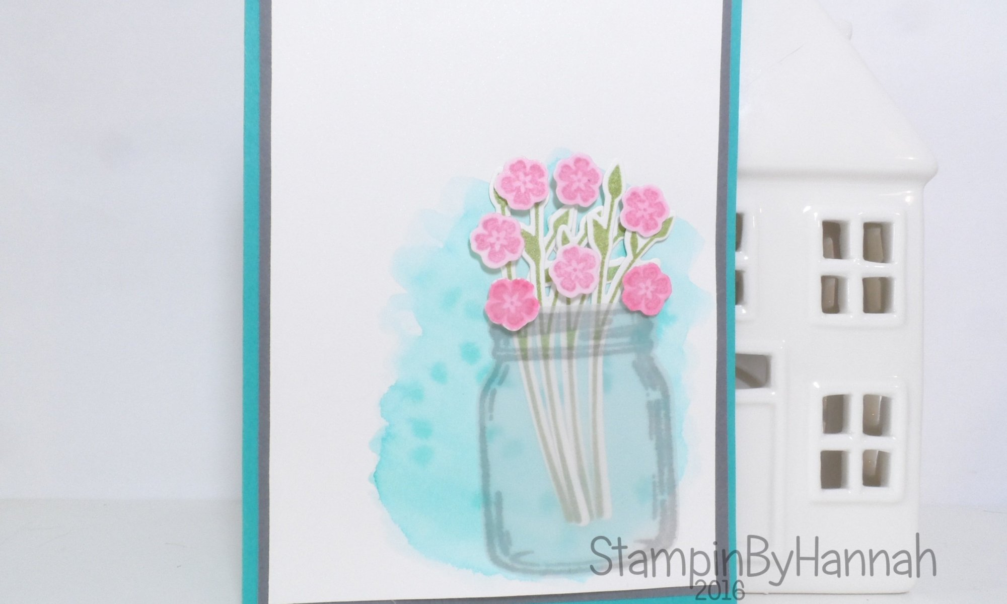 Pinkies Team Design Challenge Colouring Watercolour with Jar of Love from Stampin' Up! UK