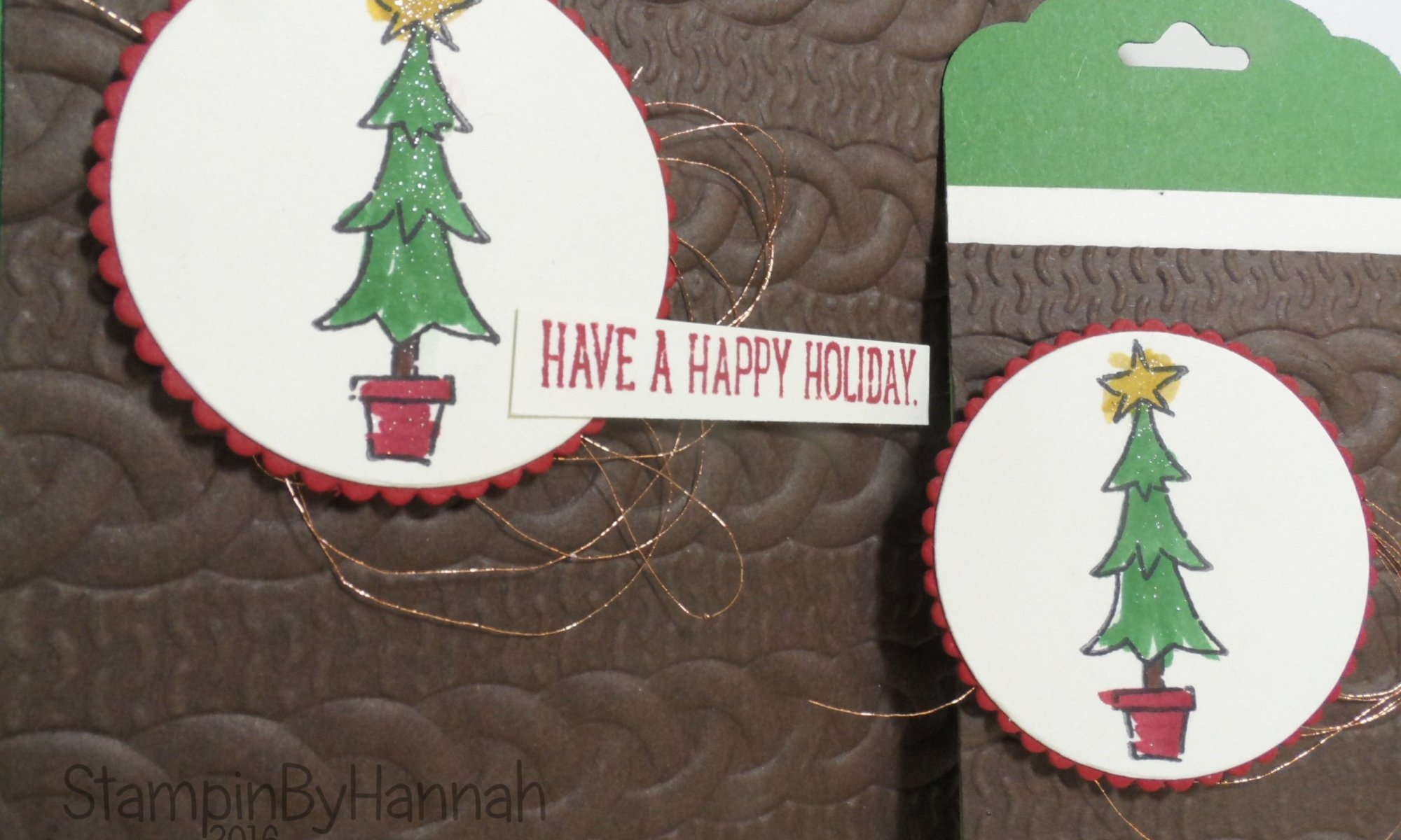 Christmas card and matching tag using Glamper Greetings from Stampin' Up!