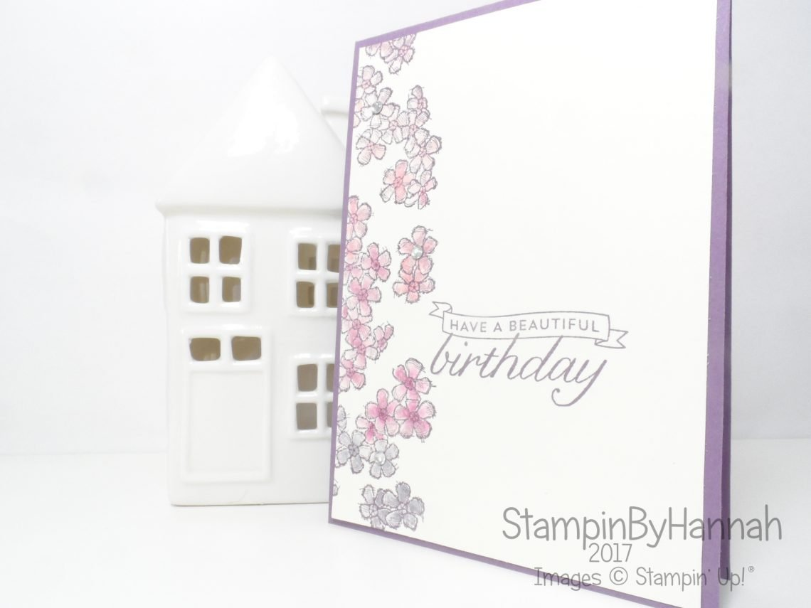 Stinkin' Inkers April Challenge Shower of Flowers Birthday card using Birthday Blossoms from Stampin' Up!
