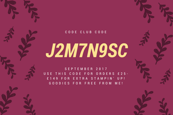 Stampin' Up! Hostess Code September 2017 Code Club