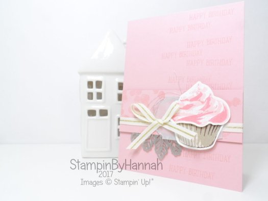 Facebook Live Cute Girly Birthday Card using Sweet Cupcake from Stampin' Up!