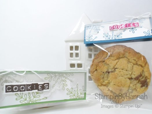 Christmas Countdown Chocolate chip cookie packets using Snowflake Sentiments from Stampin' up!